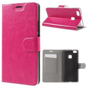 Horse PU kožené puzdro na mobil Huawei P9 Lite - rose - 1