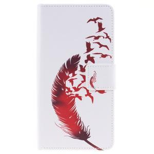 Knížkové PU kožené pouzdro na Huawei P9 Lite - ptačí peříčko - 1