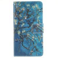 Floaty peňaženkové puzdro na mobil Huawei P9 Lite - kvitnúci strom - 1/7