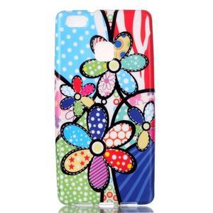Emotive gelový obal na mobil Huawei P9 Lite - barevné květiny - 1