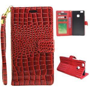 Croco peněženkové pouzdro na mobil Huawei P9 Lite - červené - 1
