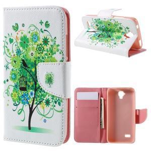 Emotive PU kožené puzdro na Huawei Y5 - zelený strom - 1