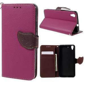 Leaf PU kožené pouzdro na mobil Huawei Y6 - rose - 1