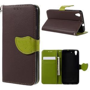 Leaf PU kožené pouzdro na mobil Huawei Y6 - hnědé - 1