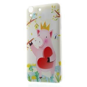 Softy gelový obal na mobil Huawei Y6 - zamilované prasátko - 1