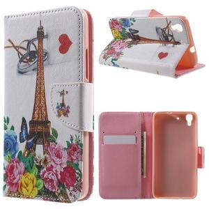 Emotive puzdro na mobil Huawei Y6 - kvetiny a Eiffelka - 1