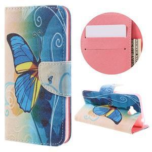 Emotive peňaženkové puzdro na mobil Huawei Y6 Pro - modrý motýľ - 1