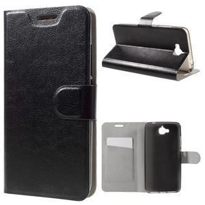Horse PU kožené peněžekové pouzdro na Huawei Y6 Pro - černé - 1