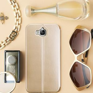Vintage PU kožené pouzdro na mobil Huawei Y6 Pro - zlaté - 1