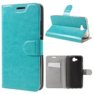 Horse PU kožené peňažekové puzdro na Huawei Y6 Pro - modré - 1