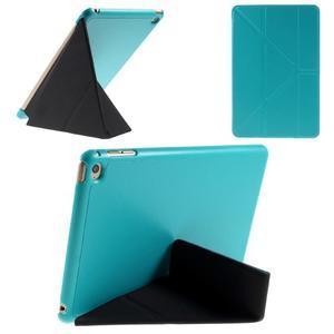 Origami polohovateľné puzdro pre iPad mini 4 - svetlomodré - 1