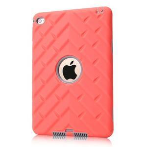Vysoce odolný silikónový obal pre tablet iPad mini 4 - oranžový/sivý - 1