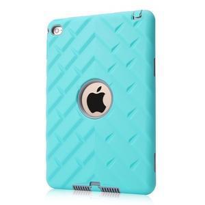 Vysoce odolný silikonový obal na tablet iPad mini 4 - cyan/šedý - 1