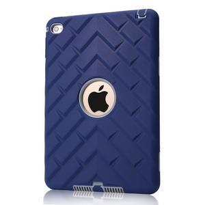 Vysoce odolný silikónový obal pre tablet iPad mini 4 - tmavomodrý/sivý - 1
