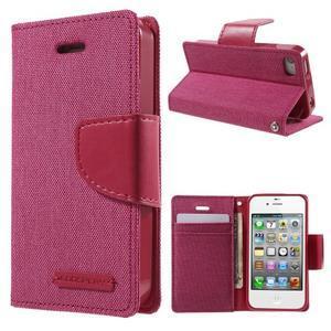 Canvas PU kožené/textilní pouzdro na iPhone 4 - rose - 1