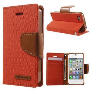 Canvas PU kožené/textilné puzdro pre iPhone 4 - oranžové - 1