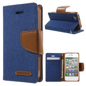 Canvas PU kožené/textilné puzdro pre iPhone 4 - modré - 1