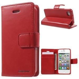 Moon PU kožené pouzdro na mobil iPhone 4 - červené - 1