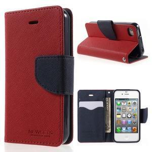 Fancys PU kožené puzdro pre iPhone 4 - červené - 1