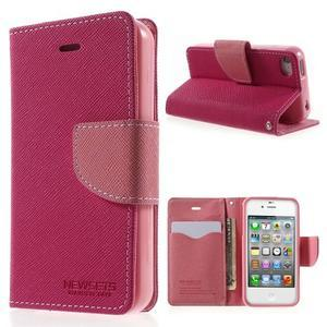 Fancys PU kožené pouzdro na iPhone 4 - rose - 1