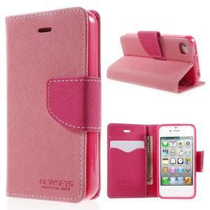 Fancys PU kožené puzdro pre iPhone 4 - ružové - 1