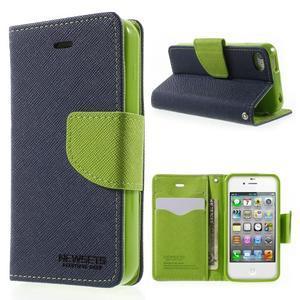 Fancys PU kožené pouzdro na iPhone 4 - tmavěmodré - 1