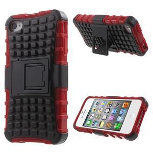 Outdoor odolný obal na mobil iPhone 4 - červený - 1