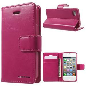 Moon PU kožené puzdro pre mobil iPhone 4 - rose - 1