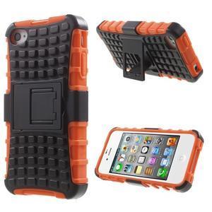 Outdoor odolný obal pre mobil iPhone 4 - oranžový - 1