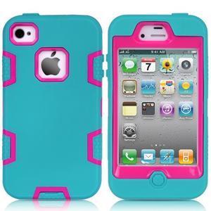 Silikonový odolný obal 3v1 na iPhone 4 - modrý - 1
