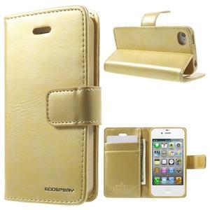 Moon PU kožené puzdro pre mobil iPhone 4 - zlaté - 1
