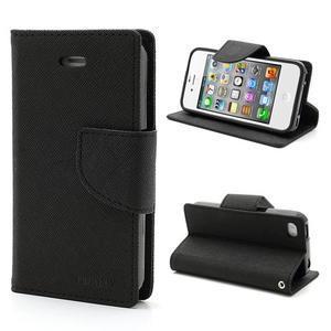 Fancys PU kožené puzdro pre iPhone 4 - čierne - 1