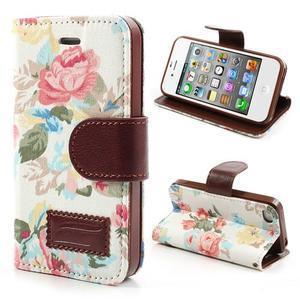 Elegantní PU kožené pouzdro na iPhone 4 - bílé pozadí - 1
