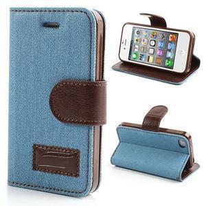 Jeans peněženkové pouzdro na iPhone 4 - světlemodré - 1
