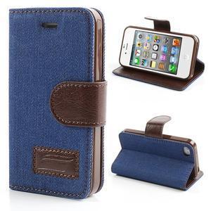 Jeans peněženkové pouzdro na iPhone 4 - modré - 1