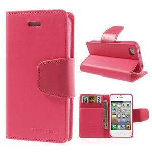 Diary PU kožené knížkové pouzdro na iPhone 4 - rose - 1