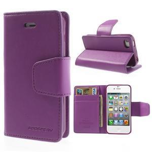Diary PU kožené knížkové puzdro pre iPhone 4 - fialové - 1