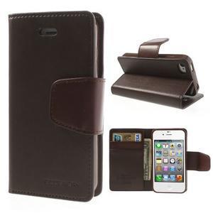 Diary PU kožené knížkové pouzdro na iPhone 4 - tmavěhnědé - 1