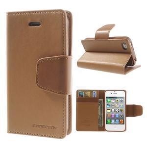 Diary PU kožené knížkové puzdro pre iPhone 4 - hnedé - 1
