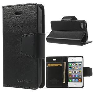 Diary PU kožené knížkové puzdro pre iPhone 4 - čierne - 1