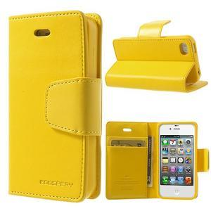 Diary PU kožené knížkové puzdro pre iPhone 4 - žlté - 1