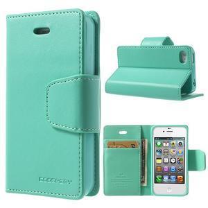 Diary PU kožené knížkové puzdro pre iPhone 4 - azurové - 1