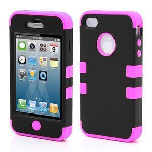 Extreme odolný kryt 3v1 na mobil iPhone 4 - fialovoružový - 1