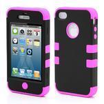 silikónový odolný obal 3v1 na iPhone 4 - rose - 1/2