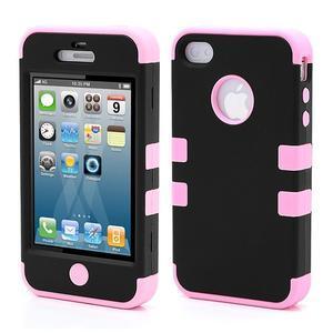 Extreme odolný kryt 3v1 na mobil iPhone 4 - ružový - 1