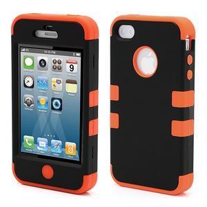 Extreme odolný kryt 3v1 na mobil iPhone 4 - oranžový - 1