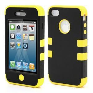Extreme odolný kryt 3v1 na mobil iPhone 4 - žlutý - 1