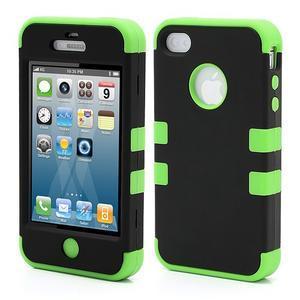 Extreme odolný kryt 3v1 na mobil iPhone 4 - zelený - 1