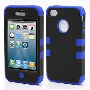 Extreme odolný kryt 3v1 na mobil iPhone 4 - modrý - 1