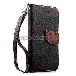 PU kožené peňaženkové puzdro pre iPhone 6s a 6 - čierne - 1